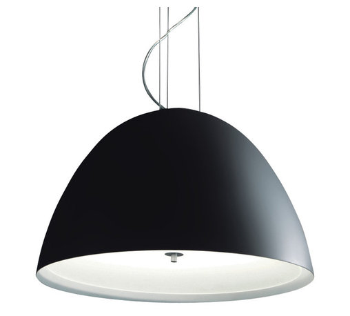 Zaneen - Willy 3-Light Suspension Pendant - Requires three 60 watt incandescent E26 medium base A19 bulbs. 120 V AC voltage supply. Matte black blown glass diffuser. Contemporary style. Environmental protection rating IP20. North American standard certified. cCSAus safety approved. Metallic gray color. Made in Italy. 23.62 in. Dia. x 14.62 in. H (22.5 lbs.)