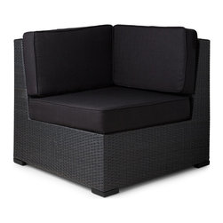 Michio Resin Wicker Corner Chair and Cushion - Modular versatility and contemporary design make the Michio Resin Wicker Corner Chair the ideal starting piece for your outdoor lounge set.