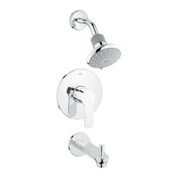 Grohe - Grohe 35 025 002 Eurostyle Cosmo One Handle Tub and Shower Faucet Trim Set in Ch - Grohe 35 025 002 Eurostyle Cosmo One Handle Tub and Shower Faucet Trim Set in ChromeUtilizing an astute mix of simple curves and flowing forms, Eurostyle Cosmospolitan offers a unique design proposal for the modern bathroom. The distinctive keyhole-shaped lever handle is pitched at the inviting angle of seven degrees on the lavatory centerset. This subtle incline enhances the user experience and facilitates interaction. Grohe 35 025 002 Eurostyle Cosmo One Handle Tub and Shower Faucet Trim Set in Chrome, Features:• Features the smooth, precise action of Grohe Silkmove ceramic technology for lifelong, effortless water control• Grohe Starlight technology creates a deep, luxurious chrome finish that is soil repellant, scratch resistant and non-tarnishing.• Single lever handle• Euphoria shower head (27 246)• Brass arm (27 414)• Diverter tub spout (13 285)• For use with Grohsafe rough-in valve 35 015 (sold separately)• Shower Head: 2.5 gpm at 80 psi (9.5 lpm)• ADA compliantRequires Grohsafe Universal Pressure Balance Rough-in Valve