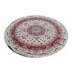 Olia Silk Round Tabriz Persian Rug 7'x7' - Brand new