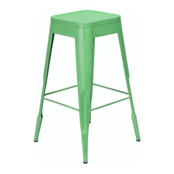 Felix | Tolix Style Bar Stool - Green Lightly Distressed - This classic cafe stool originally designed by Xavier Pauchard in 1934 has been a staple in French bistros and trendy hotspots throughout the 20th century. The Felix is our spin on the classic Tolix� stool. Slight abrasions and variations are characteristic of the chair's industrial aesthetic. Our gunmetal stools or stools labeled as distressed are hand finished and antiqued to create a unique industrial look. Only galvanized finish is suitable for outside use. Available in an array of colors and finishes, mix and match to create a unique setting (some colors are available through special order only). Contact us for quantity orders.