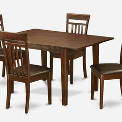 """East West Furniture - Milan 5Pc Set with Dining Table and 4 Capri Faux Leather Seat Chairs - Milan 5Pc Set with Rectangular 36 X 54 Table with 12 In Butterfly Leaf and 4 Faux Leather Seat Chairs; Rectangular dining table is designed in contemporary style with clean angles and sleek lines.; Table and chairs are crafted of fine Asian solid wood for quality and longevity.; Chairs are available with either wooden seats or upholstered seats to suit preference and desired motif.; Table features a standard butterfly leaf for convenient extension.; Ladder back chair style is sturdy, durable, and is ideal for classic decor in any kitchen or dining room.; Dinette sets are available in either rich Mahogany or exquisite Saddle Brown finish.; Weight: 139 lbs; Dimensions: Table: 42 - 54""""L x 36""""W x 29.5""""H; Chair: 17.5""""L x 17""""W x 38.5""""H"""