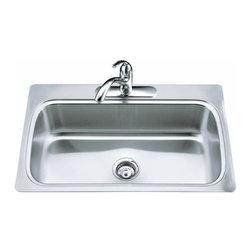 KOHLER - KOHLER K-3373-3-NA Verse Single-Basin Self-Rimming Kitchen Sink - KOHLER K-3373-3-NA Verse Single-Basin Self-Rimming Kitchen Sink with Three-Hole Faucet Punching