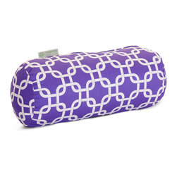 Majestic Home - Indoor Purple Links Round Bolster - You may not need anything to bolster your ego, but how about your decor? A fresh and fabulous chain pattern on durable cotton twill makes a comfy and stylish addition to your favorite modern setting.