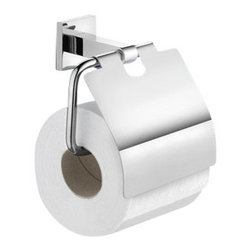 Gedy - Chrome Wall Mounted Toilet Paper Holder with Cover - Made in stainless steel and finished in chrome.