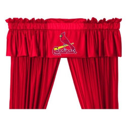 Sports Coverage - MLB St. Louis Cardinals Valance - Finish off the room in style with this great looking MLB St. Louis Cardinals Valance. A must have for any true fan! Show your team spirit with this officially licensed MLB team Valance. Valance is 14L x 88W. Has a 3 rod pocket for gathering, and 2 header. Logo is screenprinted. Machine washable. 100% Polyester Jersey Mesh.