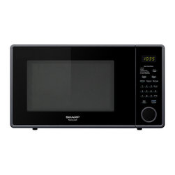 "Sharp - 1.1 cu ft 1000w touch microwave, 11.25"" turntable - R309 series mid-size 1.1 cu. ft. microwave oven in smooth black