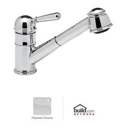 """Rohl - Rohl R77V3APC Polished Chrome Country Kitchen Country Kitchen Faucet - Country Kitchen Faucet with Pull Out Spray and Metal Lever HandleRohl R77V3 Features:All brass faucet body construction - weight: 8 lbs.Hand-machined from solid brass stockIndustry leading, 1/4 turn lifetime ceramic disc valveSuperior finishing process – chemical, scratch, and stain resistantNumber of installation holes required: 1Spout swivels to allow for unobstructed sink accessInsulated brass pullout spray faucet head (not plastic)Installs onto decks up to 2-1/4"""" thickMetal lever handles includedOverall height: 8-1/2"""" (measured from counter top to highest point of faucet)Spout height: 6"""" (measured from counter top to faucet outlet)Spout reach: 9"""" (measured from center of faucet base to center of faucet outlet)Low lead compliant – complies with federal and state regulations for lead contentDesigned for use with standard U.S. plumbing connectionsExtra secure mounting assemblyAll necessary mounting hardware includedFully covered under Rohl's limited lifetime warrantyManufactured in New Zealand, Western Europe, and/or North AmericaVariations:R77V3 - This modelR77V3S - Same model with porcelain lever handleAbout Rohl:Excellence, durability, and beauty. Family values, integrity, and innovation. These are all terms which aptly describe Rohl and its remarkable selection of kitchen and bathroom faucets and fixtures. Since 1983, Rohl has maintained a commitment to providing high-quality plumbing products for residential and commercial applications, while assuring these fixtures would make a difference in the overall décor in the living space. With a dedication to excellence throughout the home, Rohl has been satisfying homes, schools, hospitality venues, and restaurants all around the world. Rohl specializes in providi"""