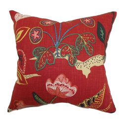 "The Pillow Collection - Unayzah Floral Pillow Poppy Red 20"" x 20"" - Fill your home with rich and warm color by propping up this accent pillow. This throw pillow is perfect for your family room, bedroom, lounge area. The square pillow features a floral print pattern in a variety of colors: poppy red, blue, green, yellow, pink and natural. This 20"" pillow is easy to mix and match with other patterns and colors. Made from a blend of high-quality materials: 55% linen and 45% rayon. Hidden zipper closure for easy cover removal.  Knife edge finish on all four sides.  Reversible pillow with the same fabric on the back side.  Spot cleaning suggested."