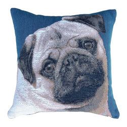 """Pillow Decor Ltd. - Pillow Decor - Pug 14 x 14 French Tapestry Throw Pillow - Bring a touch of whimsy to your decor with this adorable pug throw pillow. This decorative pillow features French tapestry to showcase the sweet pup, and will make you want to give """"pugs and kisses"""" to everyone in the room."""