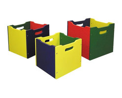 ORE International - 3 Pc Kids Nesting Toy Boxes w Handles - Includes small, medium, and large box. Nested design. Sturdy boxes. Tough enough for toting heavy toys and hardcover books. Minimal assembly required. Yellow, Green, Blue and Red finish. Made of wood composite . Large: 9.75 in. L x 9.75 in. W x 9.75 in. H. Medium: 8.75 in. L x 8.75 in. W x 8.75 in. H. Small: 7.75 in. L x 7.75 in. W x 7.75 in. H. Overall Set Weight: 10 lbs.Primary-color paint is cheerful and perfect for a child's room or playroom. Designed to nest together when not in use, this space-saving toy box set is a perfect way to help kids stay organized.