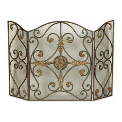 Uttermost - Grace Feyock Jerrica Traditional Fireplace Screen - This lovely fireplace screen is made of hand forged metal with wire mesh panels. The mahogany base-coat has light brown accents with tan glaze and dark brown wash.