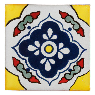 Mexican Artisans - Guatalahara Yellow Talavera Tiles, Box of 15 - Add a Spanish accent to your home with Talavera tiles, renowned for centuries for their color, pattern, texture and durability. This particular style features primary colors to brighten your bathroom, kitchen, even outdoors.