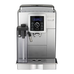 DeLonghi® Fully Automatic Espresso Machine with One Touch Cappuccino - Enjoy authentic barista drinks at home with this premium espresso center in a compact size with all the features of the full-size model and a luxurious one-touch cappuccino option. Patented frother milk container slides onto the front of the machine, automatically frothing milk for cappuccinos, lattes and machiattos with the push of any of the one-touch buttons; patented direct to brew system grinds beans just prior to brewing for the freshest results. Customize your espresso with five programmable strength settings and four cup size settings. Includes intuitive digital controls, built-in water filtration system, cup warmer, removable drip tray, eco-friendly single boiler system and energy-saving switch. Makes two cups simultaneously.