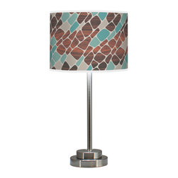 """Jef Designs Cell in Blue Stem Table Lamp - Jefdesigns organic imagery, digitally enhanced with woodgrain and printed on textural linen shade with brushed metal stem base. These table lamps provide warm illumination while adding a little nature to your home. Dimensions 24""""H x 12""""W x 12""""D , shade: 9""""H x 12""""W x 12""""D. 3-way switch lamp. Printed linen shade. Brushed steel stem base. Made to order, special item. Final sale. 1 - 150w 3-way medium base incandescent UL listed, plug in. Bulbs not included."""