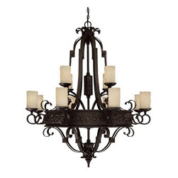 Capital Lighting - Capital Lighting River Crest Traditional Chandelier X-521-IR2063 - The circular body and classic ribbon-like scrollwork add a subtle historic, medieval feel to this stylish Capital Lighting chandelier. From the River Crest Collection, it comes in a dark Rustic Iron finish that pairs wonderfully with the warm tones of the rust scavo glass shades, ensuring it will add warmth and elegance to any room in your home.