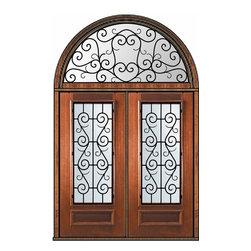 """Prehung Transom Double Door 80 Mahogany St. Charles 3/4 Lite - SKU#P08662WS-G-WP34SC2-HRSCBrandGlassCraftDoor TypeExteriorManufacturer Collection3/4 Lite Entry DoorsDoor ModelSt. CharlesDoor MaterialWoodWoodgrainMahoganyVeneerPrice7310Door Size Options  +$percentCore TypeDoor StyleDoor Lite Style3/4 LiteDoor Panel Style1 PanelHome Style MatchingDoor ConstructionPortobelloPrehanging OptionsPrehungPrehung ConfigurationDouble Door and Half Round TransomDoor Thickness (Inches)1.75Glass Thickness (Inches)Glass TypeDouble GlazedGlass CamingGlass FeaturesLow-E , TemperedGlass StyleGlass TextureWater , Flemish , Baroque , Fluted , Rain , Glue Chip , ClearGlass ObscurityLight Obscurity , Moderate Obscurity , Highest Obscurity , No ObscurityDoor FeaturesDoor ApprovalsWind-load Rated , FSC , TCEQ , AMD , NFRC-IG , IRC , NFRC-Safety GlassDoor FinishesDoor AccessoriesWeight (lbs)876Crating Size36"""" (w)x 108"""" (l)x 89"""" (h)Lead TimeSlab Doors: 7 Business DaysPrehung:14 Business DaysPrefinished, PreHung:21 Business DaysWarrantyOne (1) year limited warranty for all unfinished wood doorsOne (1) year limited warranty for all factory?finished wood doors"""