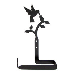 Village Wrought Iron - Village Wrought Iron TT-18 Hummingbird Toilet Tissue Holder (No Roller Design) - Decorative, functional and long lasting handcrafted products for your home carefully made using the finest materials and time-tested methods of craftsmanship. Quality and durable coated products have a baked on powder coating to ensure that you may enjoy each piece for many years. Toilet Tissue Holder Measurements Are Approximate. Proudly crafted in the USA. Material is Handcrafted Iron. Finish is a Flat Black Powder Coated Iron for that long lasting appeal. Silhouette Sizes Vary Slightly. Dimensions are approximately: 5 1/2 In. W x 8 In H x 2 5/8 In. D