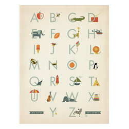 Anderson Design Group - Kiddy Korner Collection 'My First Alphabet' Gallery Print - Nothing inspires curiosity and learning like art. This adorable print is perfect for any little boy's room! Original, hand-illustrated design from Anderson Design Group in Nashville, TN.