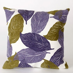 """Liora Manne - Mystic Leaf Square Indoor/Outdoor Pillow in Purple - Features: -Available in 16.5"""" or 20.5"""" sizes. -Color: Purple. -Content: 100% Polyester Microfiber. -Backing: 100% Polyester. -Handmade. -Indoor/Outdoor and antimicrobial. -Removable cover can be hand-washed. -Shape: Square. -Easy care and maintenance. -Combines intricate hand crafting with modern technology. Specification: -16"""" Dimensions: 16"""" H x 16"""" W x 5"""" D, 2 lbs. -20"""" Dimensions: 20"""" H x 20"""" W x 5"""" D, 2 lbs."""