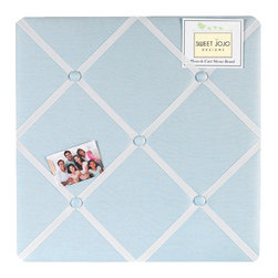 Sweet Jojo Designs - Go Fish Fabric Memo Board - The Go Fish Fabric Memo Board with button detail is a great way to display photos, notes, and postcards on your child's wall. Just slip your mementos behind the grosgrain ribbon to create an engaging piece of original wall art. This adorable memo board by Sweet Jojo Designs is the perfect accessory for the matching children's bedding set.