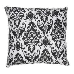 """White Black Damask 18"""" x 18"""" Pillow  Set of 2 - *18"""" x 18"""" Pillow with Hidden Zipper"""