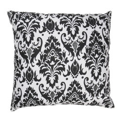 "White Black Damask 18"" x 18"" Pillow  Set of 2 - *18"" x 18"" Pillow with Hidden Zipper"