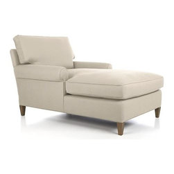 Montclair Chaise - Not too low. No too deep. Our classically proportioned roll arm takes just the right stance, offering a bit more of an upright seat with plenty of cushioning. Natural-toned upholstery has a classic linen-look with subtle texture and a soft hand, tailoring the frame beautifully with smart self-welting. Tapered solid wood legs are finished in drift.