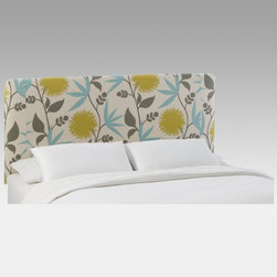 Skyline Furniture - Polly Aegean Slipcover Headboard Multicolor - 730SLPLYAGN - Shop for Headboards and Footboards from Hayneedle.com! Just think of it - a wide meadow filled with flowers and swaying grasses covered by nothing but wide blue sky. Relaxing right? Bring that serenity into the bedroom with the Skyline Polly Aegean Slipcover Headboard's clean contemporary lines and graphic dandelion print. The durable wood and metal framed headboard boasts soft 100 percent cotton upholstery with a modern pale yellow soft blue and neutral floral design. Highlight the headboard with contrasting bright bedding or keep things Zen with creamy white sheets and pillows. Spot-clean care is super-easy and sizes to fit beds from twin to California king are available. Dimensions Twin: 41L x 4W x 52H inches Full/double: 56L x 4W x 52H inches Queen: 62L x 4W x 52H inches King: 78L x 4W x 52H inches California king: 74L x 4W x 52H inches About Skyline Furniture Manufacturing Inc.Skyline Furniture was founded in 1948 with the goal of producing stylish affordable quality furniture for the home. After more than 50 years this family-run business is still designing and manufacturing unique products that meet the ever-changing demands of the modern home furnishing industry. Located in the south suburbs of Chicago the company produces a wide variety of innovative products for the home including chairs headboards benches and coffee tables.