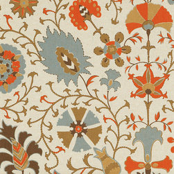 "Ballard Designs - Timur Orange Fabric By The Yard - Content: cotton/rayon blend. Repeat: Non-railroaded fabric. Care: Dry Clean. Width: 55"" wide. Bold Suzani in tones of orange, chocolate, moss, slate, cream and espresso hand printed on supple cotton/rayon blend. . . . . Because fabrics are available in whole-yard increments only, please round your yardage up to the next whole number if your project calls for fractions of a yard. To order fabric for Ballard Customer's-Own-Material (COM) items, please refer to the order instructions provided for each product. Ballard offers free fabric swatches: $5.95 Shipping and Processing, ten swatch maximum. Sorry, cut fabric is non-returnable."