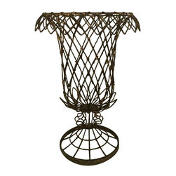 "Pre-owned French Inspired Wire Urn Shaped Planter - This tall urn shaped planter is exceptionally sturdy and has a wire tie at every joint. It has a great finish and patina that lends a romantic distressed look. This would make a great centerpiece filled with moss and an orchid or your favorite brightly colored fruit!    The 18"" includes the base."