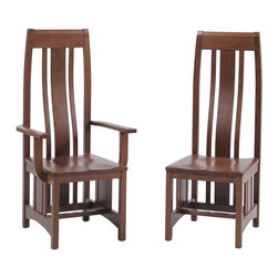 Mission Dining Room Chair - These Mission dining room chairs have a comfortable, curved back.  Choose sides, arms or a combination of both for your dining room furniture.  Visit DutchCrafters.com for more information on our Amish handcrafted Mission furniture.