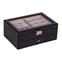 Colette Glass Top Locking Jewelry Box in Black Croco Faux Leather - 12.5W x 5H i - Show off your jewelry without compromising security with the Mele & Co. Colette Glass Top Locking Jewelry Box in Black Croco Faux Leather. The case is covered in black crocodile faux leather and features polished silver tone hardware, closure and key. The interior compartments are hand-lined in soft ivory suede fabric. The top tray has eight equally divided sections, numerous ring rolls, and one large open section. The pull-out drawer is divided into three sections, one large and two small.About MeleEmidio Mele, an Italian immigrant to the United States, came to New York City in 1896 and learned to make jewelry boxes as an apprentice before founding Mele Manufacturing in 1912. He began by designing and building elegant displays for jewelry store windows. His jewelry box-making business grew throughout the 1900s, responding to demands for boxes to hold Purple Hearts during WWII and developing as a popular household name for quality jewelry boxes. Today Mele Jewelry Box is known as the Mele Companies, which encompass various divisions under the Mele name. Now based in Utica, N.Y., Mele still upholds the family atmosphere on which it was founded and remains America's foremost name in jewelry cases.