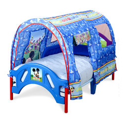Adarn Inc - Safe Low Profile Mickey Mouse Canopy Toddler Children Bed Metal Plastic Frame - The Mickey Mouse Canopy Bed is the perfect bed perfect for transitioning your little Mouseketeer from crib to big boy bed. Features a high quality plastic and metal frame making it lightweight yet sturdy for strength and durability that will last. The bed is also built low to the ground for easy child access and comes with side rails for safe and secure sleeping. The bed uses a standard crib mattress (sold separately. Meets all JPMA safety requirements. Some assembly required. Complements other Mickey Mouse items sold separately.