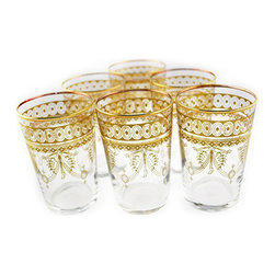 Berber Gold Moroccan Hand-painted Tea Glasses - These Moroccan glasses can double as tea light candleholders.
