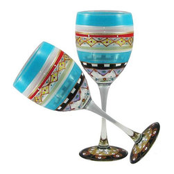Golden Hill Studio - Mosaic Carnival Wine Glasses Set of 2 - Invite a little local color to your next party. These spectacular multicolored wine glasses are hand-painted in America, and are guaranteed to charm your guests immediately.