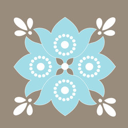Murals Your Way - Flower - Aqua & Warm Gray Wall Art - Painted by Simon & Kabuki, Flower - Aqua & Warm Gray wall mural from Murals Your Way will add a distinctive touch to any room