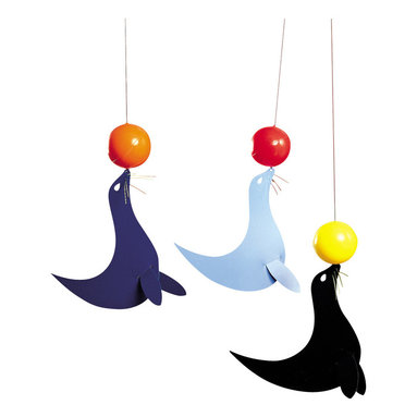 Flensted Mobiles - Happy Sea Lions Mobile - With balls poised on the tips of their noses, these playful sea lions perform tricks with the slightest breeze. The foil can withstand humidity, so it's a great choice to hang in the bath to entertain your little one during tub time.