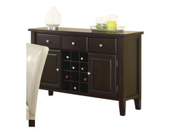 Coaster - Coaster Carter Buffet Style Server in Dark Brown Wood Finish - Coaster - Buffet Tables and Sideboards - 102265