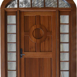 Beach house front entry door - Unique mahogany front entry door features nautical lifesaver in top panel, TDL sidelites and elliptical transom.  The door was fitted with a multi-point lockset for added security.