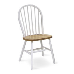 International Concepts - Windsor High Spindle Back Chair w Plain Legs - Solid wood chair has a high spindle back with a white finish on the back and the legs.  Seat is finished in a natural tone.  Great seating for a kitchen or breakfast nook.  Chair height is 37 1/2 inches. * Spindle back. Splayed leg design with supporting crossbar. Made of solid wood. No assembly required. 19 in. W x 17.25 in. D x 37.5 in. H (16 lbs.). Seat height: 18.13 in.