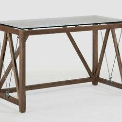 Glass Top Cable Desk - The angular design makes this desk an invigorating piece.