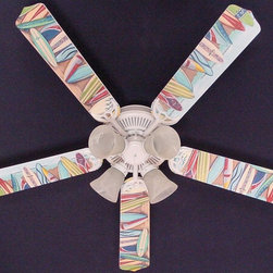 Ceiling Fan Designers - Ceiling Fan Designers Hawaiian Surfboards Indoor Ceiling Fan - 42FAN-KIDS-HSSB - Shop for Ceiling Fans and Components from Hayneedle.com! A fun and functional addition to your veranda or teen's room the Ceiling Fan Designers Hawaiian Surfboards Indoor Ceiling Fan has style. Hawaiian surfboards loaded with color give it style. The fact that it's a ceiling fan and light kit combo makes it ultra practical. It comes in your choice of size: 42-inch with 4 blades or 52-inch with 5. The blades are reversible so you get the colorful design on one side and white on the other. It has a powerful yet quiet 120-volt 3-speed motor with easy switch for year-round comfort. The 42-inch fan includes a schoolhouse-style white glass shade and requires one 60-watt candelabra bulb (not included). The 52-inch fan has three alabaster glass shades and requires three 60-watt candelabra bulbs (included). Your ceiling fan includes a 15- to 30-year manufacturer's warranty (based on size). Hang ten!