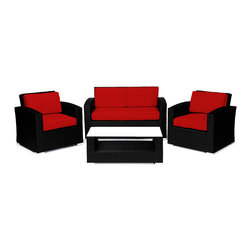 Reef Rattan - Reef Rattan Miami 4 Pc Conversation Set with Deep Seating Love Seat - Black Ratt - Reef Rattan Miami 4 Pc Conversation Set with Deep Seating Love Seat - Black Rattan / Red Cushions. This patio set is made from all-weather resin wicker and produced to fulfill your needs for high quality. The resin wicker in this patio set won't fade, shrink, lose its strength, or snap. UV resistant and water resistant, this patio set is durable and easy to maintain. A rust-free powder-coated aluminum frame provides strength to withstand years of use. Sunbrella fabrics on patio furniture lends you the sophistication of a five star hotel, right in your outdoor living space, featuring industry leading Sunbrella fabrics. Designed to reflect that ultra-chic look, and with superior resistance to the elements in a variety of climates, the series stands for comfort, class, and constancy. Recreating the poolside high end feel of an upmarket hotel for outdoor living in a residence or commercial space is easy with this patio furniture. After all, you want a set of patio furniture that's going to look great, and do so for the long-term. The canvas-like fabrics which are designed by Sunbrella utilize the latest synthetic fiber technology are engineered to resist stains and UV fading. This is patio furniture that is made to endure, along with the classic look they represent. When you're creating a comfortable and stylish outdoor room, you're looking for the best quality at a price that makes sense. Resin wicker looks like natural wicker but is made of synthetic polyethylene fiber. Resin wicker is durable & easy to maintain and resistant against the elements. UV Resistant Wicker. Welded aluminum frame is nearly in-destructible and rust free. Stain resistant sunbrella cushions are double-stitched for strength and are fully machine washable. Removable covers made with commercial grade zippers. Tables include tempered glass top. 5 year warranty on this product. PLEASE NOTE: Throw pillows