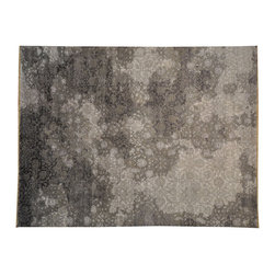 1800GetARug - Silver Wash Broken Design Wool and Bamboo Silk Hand Knotted Rug Sh16788 - Our Modern & Contemporary hand knotted rug collection contains some of the latest designs in the industry. The range includes geometric, transitional, abstract, and modern designs; from the Tibetans to the Gabbeh. We offer an entire line of contemporary designs, whether you're searching for sophisticated and muted to the vibrant and bold.