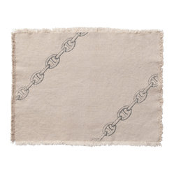 Montauk Chains Placemat, Set of 2, Natural/Stone
