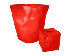 Essey - Essey Bin Bin Waste Basket and Wipy Tissue Box Holder - Red - This red bathroom set includes the Essey Bin Bin Wastebasket plus the Wipy cube tissue holder. Bin Bin has been designed to look like the crumpled paper that it is intended to hold. Wipy has a similar crumpled paper look. Bin Bin measures about 13 inches high and 13 inches across the top. Wipy is 5 x 5 x 5 inches. Bin Bin is made of hard polyethylene in Germany. Wipy is made of thermoplastic elastomer in Finland. Available in white, red, or black. Free domestic shipping.
