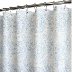 Watershed - Watershed Venetian Tiles Shower Curtain - VETI40-SKW - Shop for Shower Curtains from Hayneedle.com! An exotic tile design available in your choice of spa-worthy colors makes the Park B Smith Venetian Tiles Shower Curtain the perfect way to add luxury to your master bath. This fabric shower curtain is made of quick-dry polyester that is machine-washable needs no inner liner and is mold- and allergen-resistant. Grommets at the top make hanging easy and weights at the bottom keep it in place.