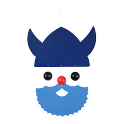 Flensted Mobiles - Veteran Viking Mobile - Blue - Scandinavian by design, this seafaring Viking is much more hospitable than those of long ago. With a red nose, full beard and a glint in his eye, he'll add a sense of adventure to your space, wherever he resides.
