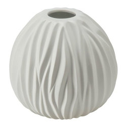 Kouboo - Ripple Porcelain Vase in White, Medium - Hand-shaped from porcelain, this vase adds an elegant touch to any setting. The vase holds water for fresh-cut roses, hydrangea, or your favorite seasonal blossoms.